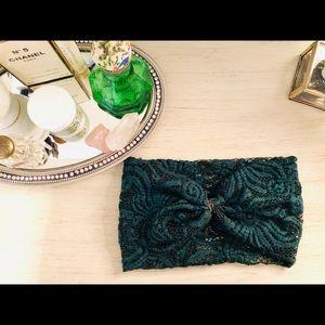 Anthropologie Green Turban-Style Head Wrap